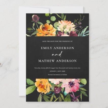 Black Pink Yellow Floral Save The Date Invite