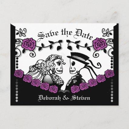 Black & Purple Gothic Skeletons Roses Save Date Announcement