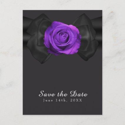 Black Ribbon & Purple Rose Save the Date ANY COLOR Announcement