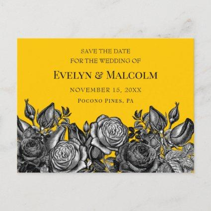 Black Roses Goldenrod Save the Date STD Announcement