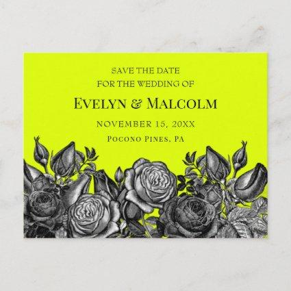 Black Roses Lime Green Save the Date STD Announcement