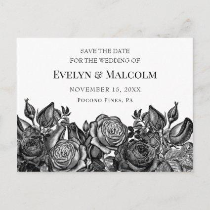 Black Roses on White Save the Date STD Announcement