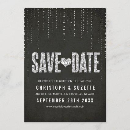 Black & Silver Glitter Look Save The Date