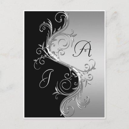 Black Silver Ornate Swirls Save The Date Announcements Cards
