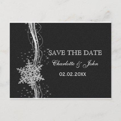 black Silver Snowflakes Winter save the Date Announcement