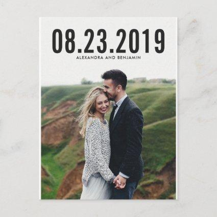 Black Simple Typography Save the Date Cards