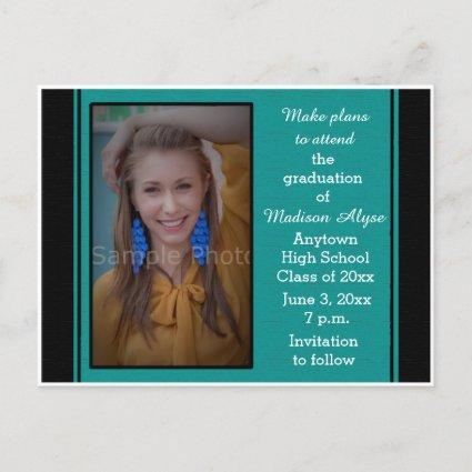 Black Teal Photo Graduation Save the Date Cards