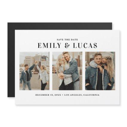 Black Typography Three Photo Collage Save The Date Magnetic Invitation