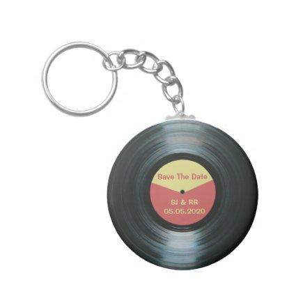 Black Vinyl Music Wedding Save The Date Keyring