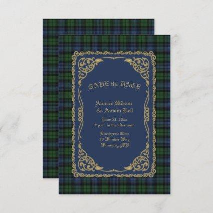 Black Watch Ancient Tartan With Gold Frame Save The Date