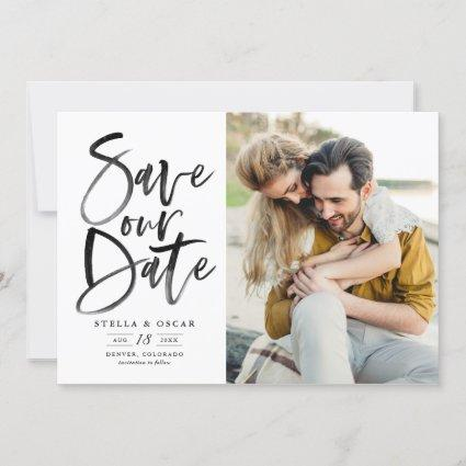 Black Watercolor Brush Calligraphy Photo Save The Date