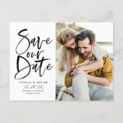 Black Watercolor Brush Calligraphy Save Our Date Announcement