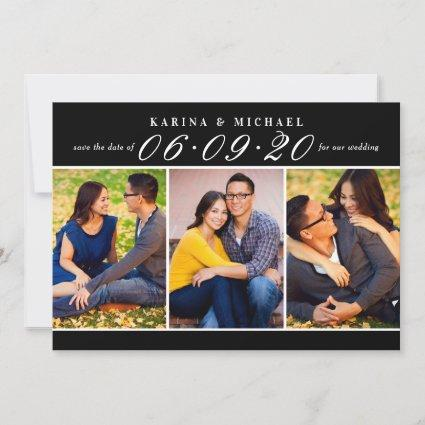 Black Wedding Date in Script Photo Collage Save The Date