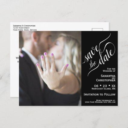 Black Wedding Save the Date Calligraphy & Photo Announcement