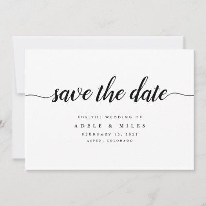 Black & White Calligraphy Save the Date Cards