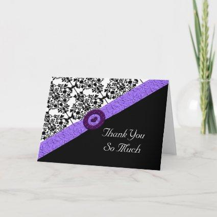 Black & White Damask Lavender Sparkle Heart Thank You Card