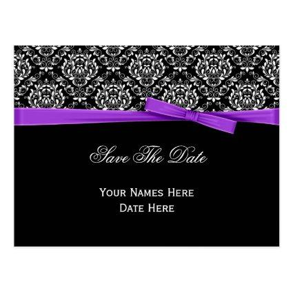 Black White Damask Purple Bow Ribbon