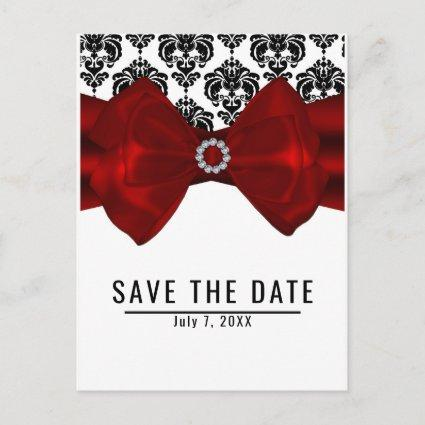 Black & White Damask Red Bow Glam Save the Date Announcement
