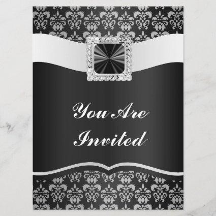 Black & white damask save the date
