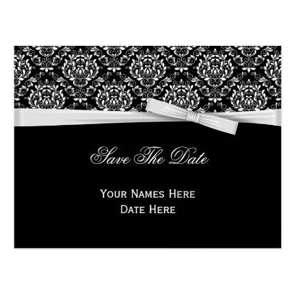 Black White Damask Silver Bow Ribbon