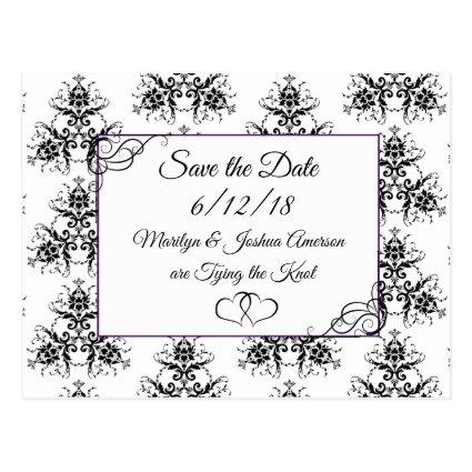 Black White Damask Wedding Save the Date Cards
