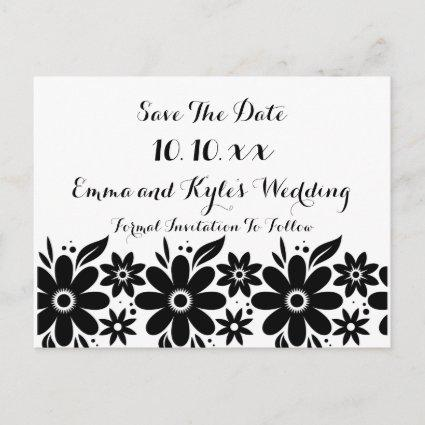 Black White Flower Save The Date or Invite