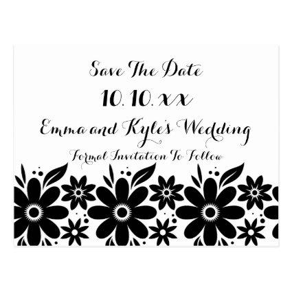 Black White Flower  or Invite