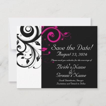 Black, White, Fuchsia Swirl Wedding Save the Date