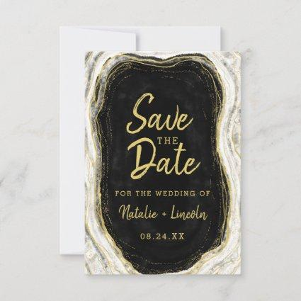 Black White & Gold Geode Agate Slice Marble Modern Save The Date