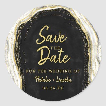 Black White & Gold Geode Agate Slice Save the Date Classic Round Sticker