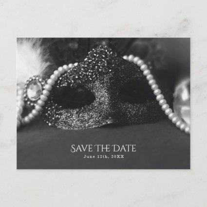 Black & White Masquerade Mask Pearls Save the Date Announcement