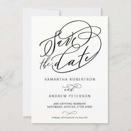 Black white minimalist calligraphy save the date