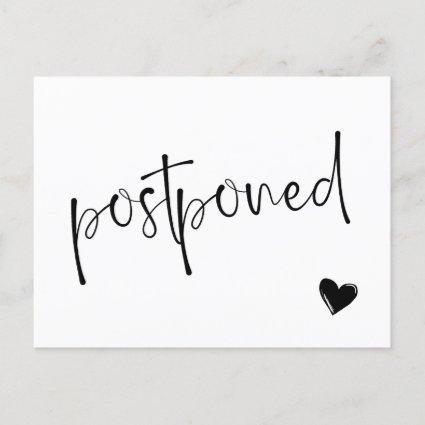 Black & White Minimalist Postponed Wedding Announcement