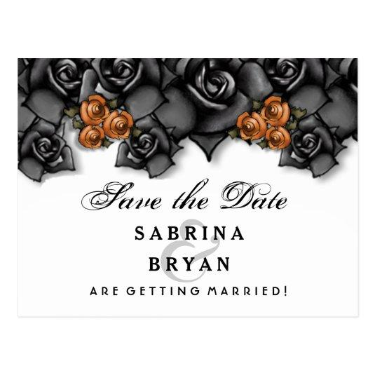 Black White Orange Roses Halloween Save Date Cards Save The Date Cards