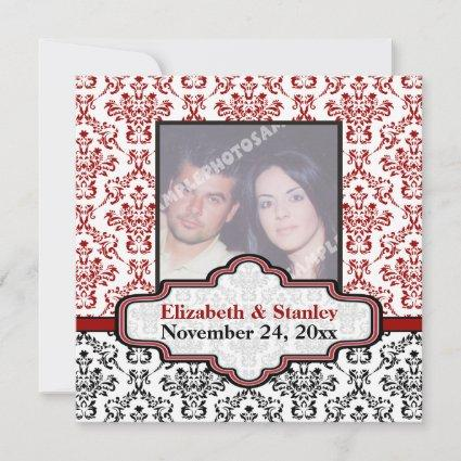 Black white red damask wedding Save the Date