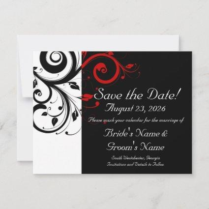 Black, White, Red Swirl Wedding Save the Date