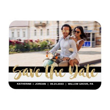 Black White Stripe & Gold Text Save the Date Magnets