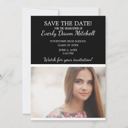 Black White Stripe Graduation Save Date Photo Save The Date