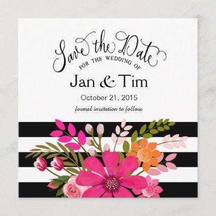 Black White Striped Flowers Save the Date fuchsia