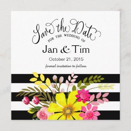 Black White Striped Flowers Save the Date yellow