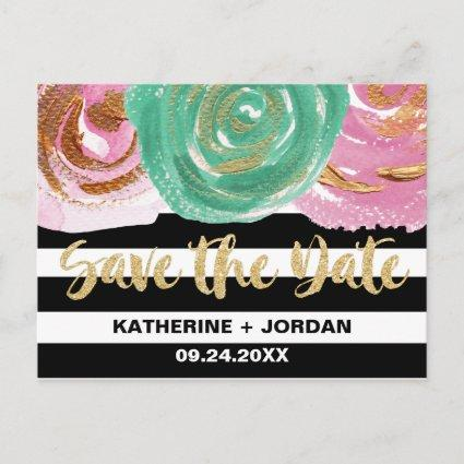 Black White Stripes and Gold Text Save the Date Announcement