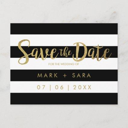 Black & White Stripes Gold Foil Save the Date Announcement