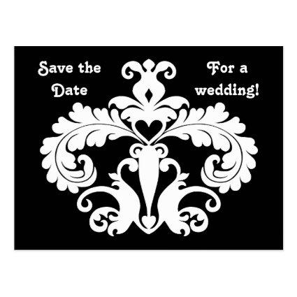 Black white wedding damask save the date Cards