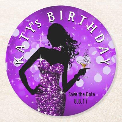 Bling Bombshell Sparkle Save the Date | purple Round Paper Coaster