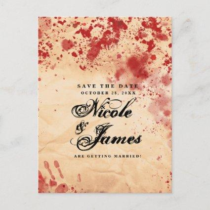 Bloody Vintage Paper Halloween Save the Date Announcement