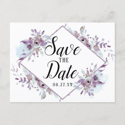 Blooming Amethyst Floral Save the Date Wedding Announcement