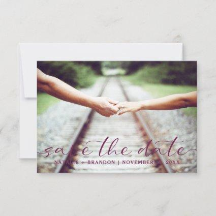 Blooming Chic Calligraphy Wedding Custom Photo Save The Date