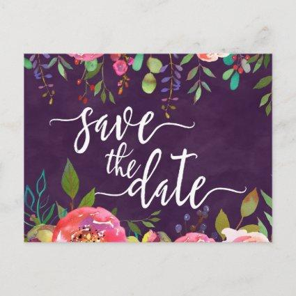 Blooming Chic Color Editable Wedding Save the Date Announcement