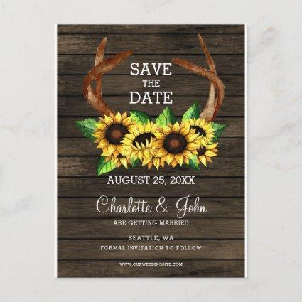 blooming sunflowers antlers country chic wedding announcement