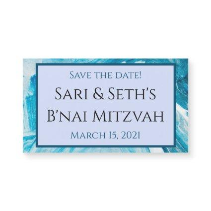 Blue Abstract Paint Save the Date Magnet